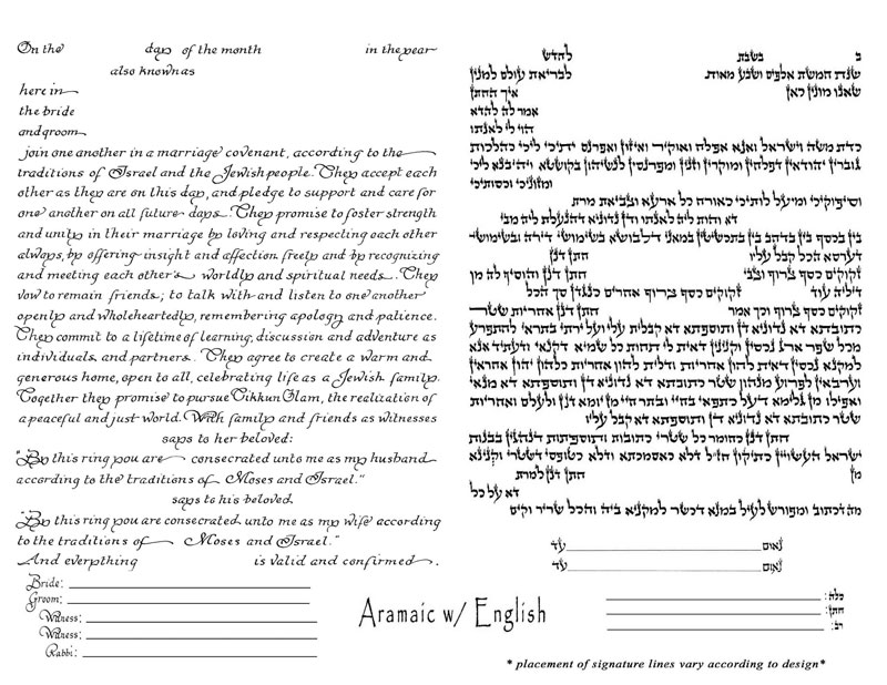 Aramaic and English Ketubah Text