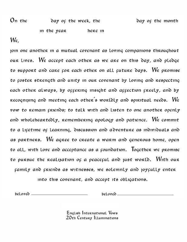 Contemporary English Ketubah Text